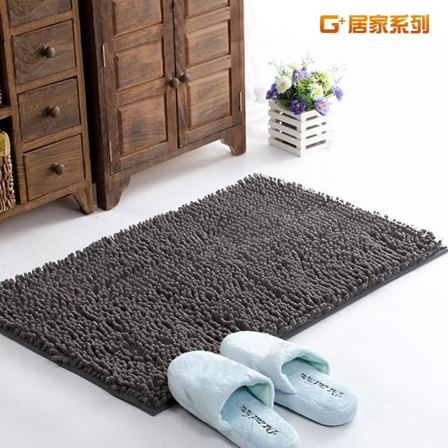 【G+居家】超細纖維長毛吸水止滑地墊腳踏墊(40X60公分-時尚灰)/