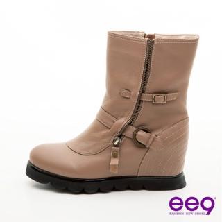 【ee9】重機辣妹-皮帶扣拉鍊裝飾中筒工程靴-內斂可可(中筒靴)