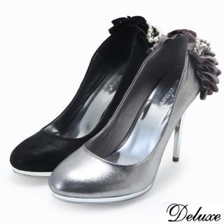 【Deluxe】法式優雅緞面珍珠天鵝湖銀跟鞋(黑-灰)