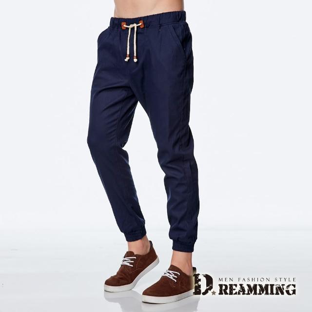 【Dreamming】韓系潮款皮標抽繩束口休閒長褲(深藍)
