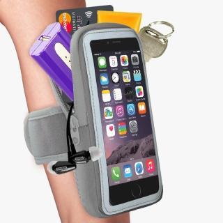 【活力揚邑】防水透氣排汗反光跑步自行車手機觸控雙層運動臂包臂套臂袋(5.7吋以下通用-灰色)