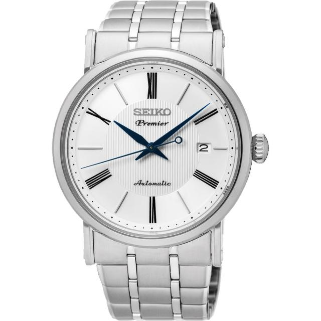 【SEIKO】精工 Premier 系列超薄機械腕錶-白/40mm(4R35-01C0S SRPA17J1)
