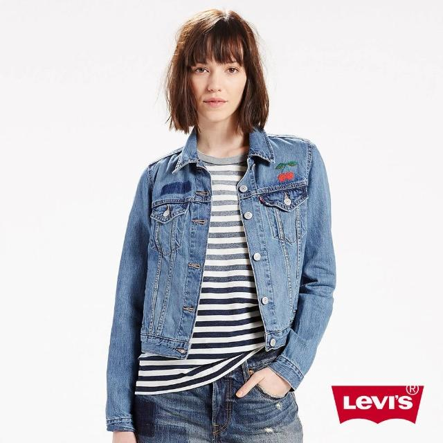【Levis】Type3 經典牛仔夾克外套 / 櫻桃刺繡 / 短版