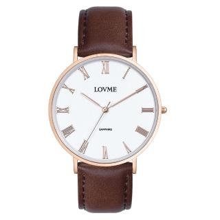【LOVME】羅馬學院風時尚手錶-IP玫x白咖皮/41mm(VL3012M-4C-241)