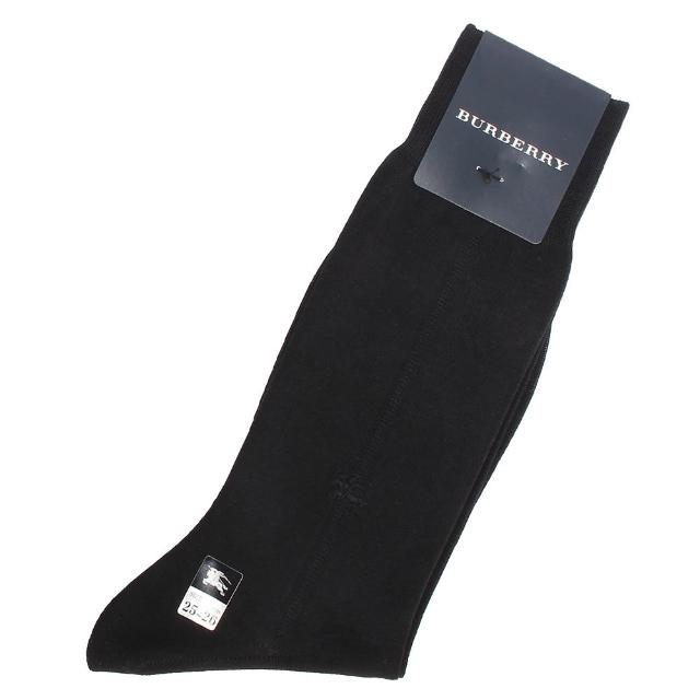 【BURBERRY 巴寶莉】經典戰馬LOGO刺繡棉質紳士襪(黑色)