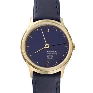 【MONDAINE瑞士國鐵】Helvetica海軍藍限量腕錶(霧金框/26mm)
