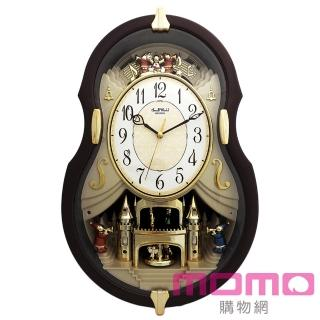 【RHYTHM日本麗聲】典藏歐風小提琴造型音樂報時掛鐘(歐風提琴)