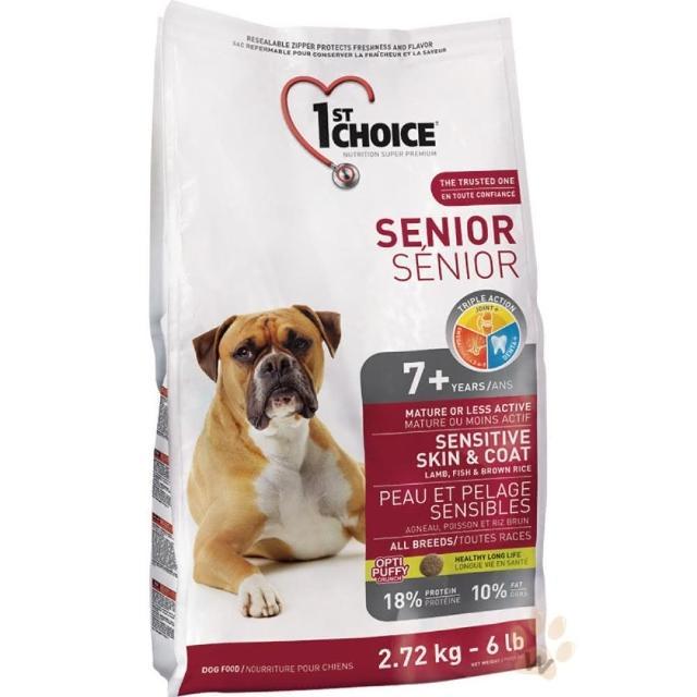 【1stChoice 瑪丁】第一優鮮犬糧 全犬種高齡犬-羊肉+鯡魚配方 2.72kg