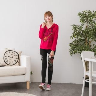 【Jimmy&Wang】桃紅連帽長袖外套+長褲套裝2件組(網)