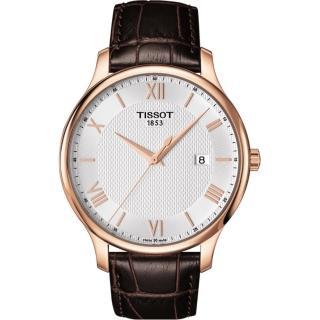 【TISSOT】Tradition 羅馬經典大三針石英腕錶-玫瑰金框x咖啡/42mm(T0636103603800)