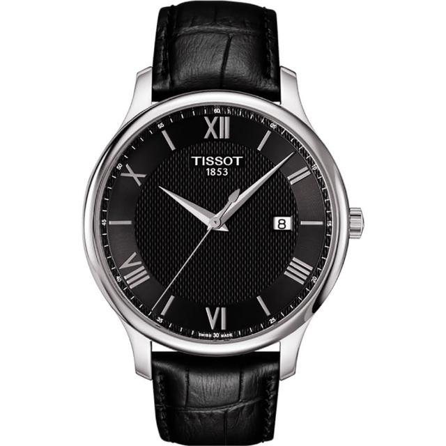 【TISSOT】Tradition 羅馬經典大三針石英腕錶-黑/42mm(T0636101605800)