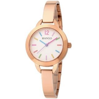 【MANGO】繽紛絢麗不鏽鋼時尚腕錶(玫瑰金/30mm)