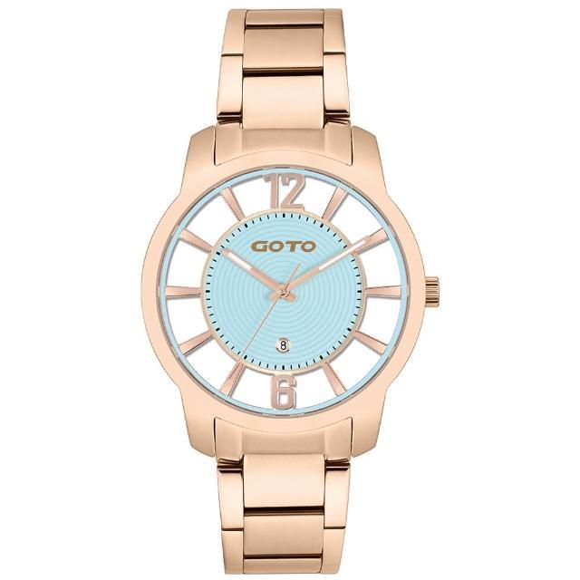 【GOTO】愛戀裸空情深時刻時尚手錶-IP玫x藍/41mm(GS0388M-44-B41)