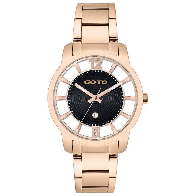 【GOTO】愛戀裸空情深時刻時尚手錶-IP玫x黑/37mm(GS0388L-44-341)