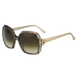 【Roberto Cavalli】-方框 蛇造型太陽眼鏡(藕紫色)