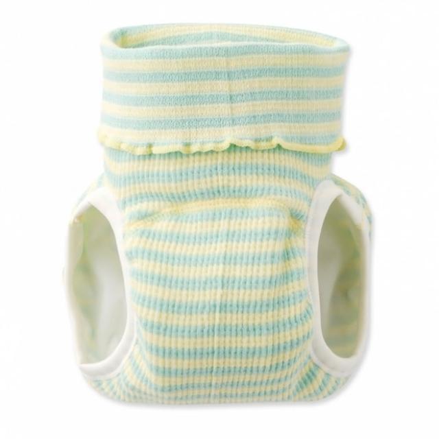 【日本 Nishiki】日本製 肚圍型/可加尿布墊保暖彈性學習褲/尿布褲 - 綠黃條紋(C4072-GN)