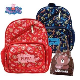 【Peppa Pig 粉紅豬】圖騰兒童後背包_2-6歲+熊大防水造型袋(佩佩豬巴黎_PP5821+LI5487)