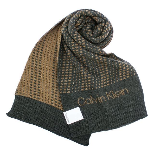 【Calvin Klein】幾何撞色斜紋休閒雙面圍巾(駝/灰色)