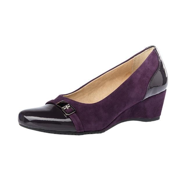 【Kimo德國手工氣墊鞋】雙皮料亮漆皮麂皮優雅風格金屬飾扣楔型鞋-神秘紫(K16WF097029)