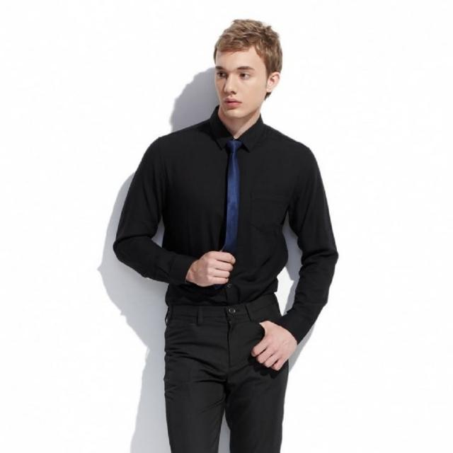 【NBL-NEWBOYLONDON】T0585W白色BK黑色素面防皺免燙長襯衫(商務時尚素面長襯衫)
