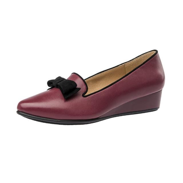 【Kimo德國手工氣墊鞋】飽和色彩蝴蝶結造型尖頭楔型淑女鞋-淺桃紅(K16WF095027)
