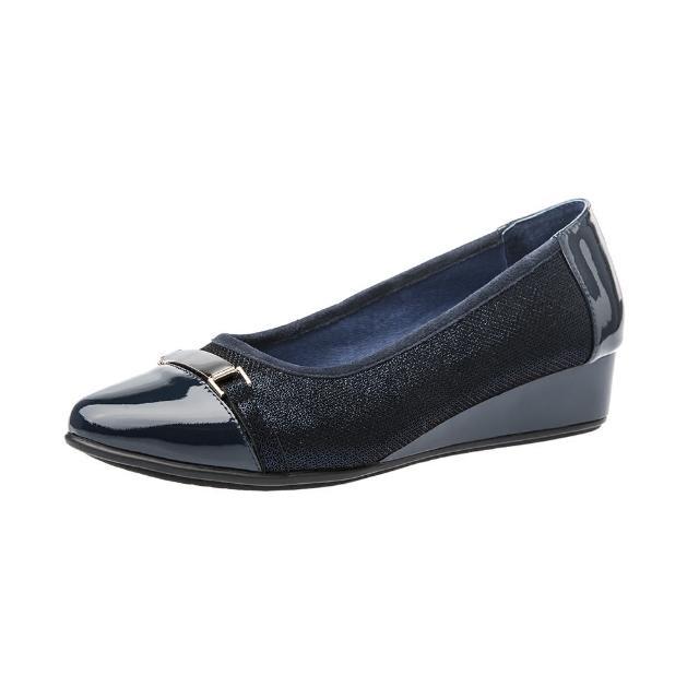 【Kimo德國手工氣墊鞋】質感羊皮+漆皮金屬飾扣尖頭楔型淑女鞋-晶湛藍(K16WF095036)