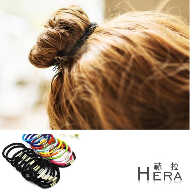 【Hera】赫拉 純色高彈力帶扣髮圈/髮束(十入黑+十入彩組)