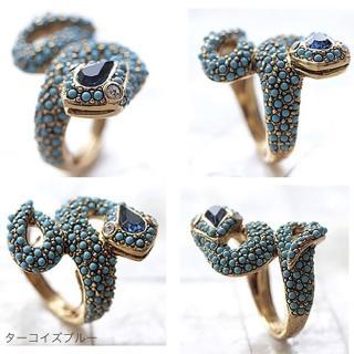 【Kenneth Jay Lane】好萊塢巨星最愛 8造型 寶石蛇戒指 藍色(可調式彈性戒圍)