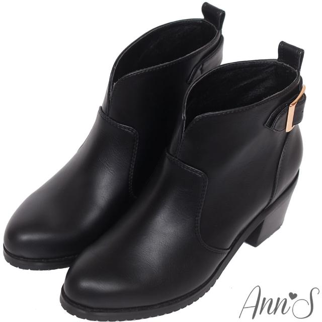 【Ann'S】美靴嚴選-前V口金屬後釦帶粗跟短靴(黑)