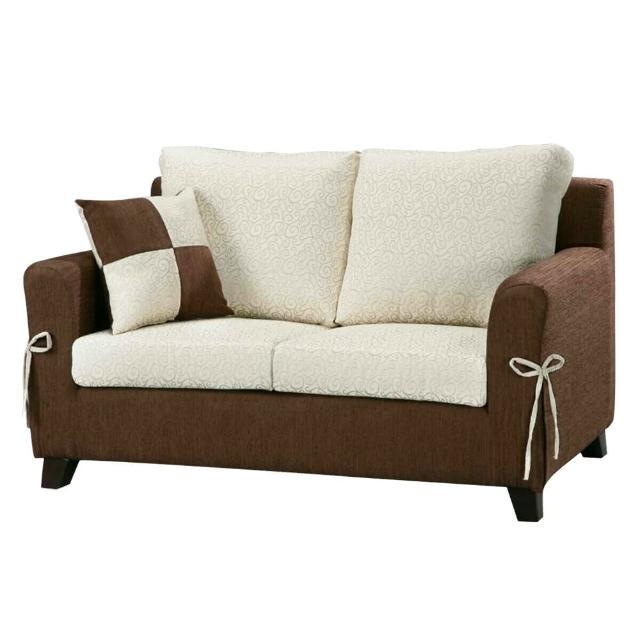 【Bernice】伊萊雙人座布沙發(送抱枕)