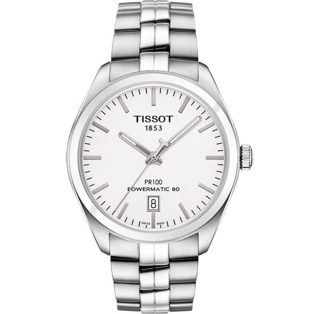 【TISSOT】天梭 PR100 Powermatic 80 機械腕錶-銀/39mm(T1014071103100)