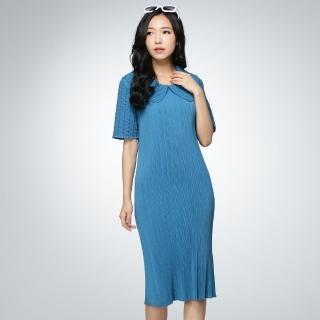 【羽生摺衣】京都風情-領袖雪紡洋裝(共一色)