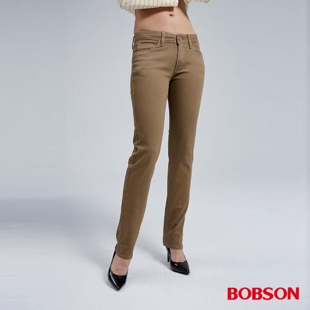 【BOBSON】熱感IN小直筒褲(卡其8038-72)限時優惠