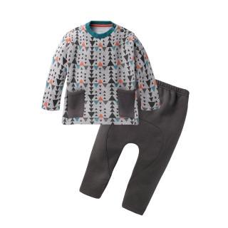 【baby童衣】兒童套裝 圓領大口袋上衣加褲子 刷毛套裝 60280(共1色)