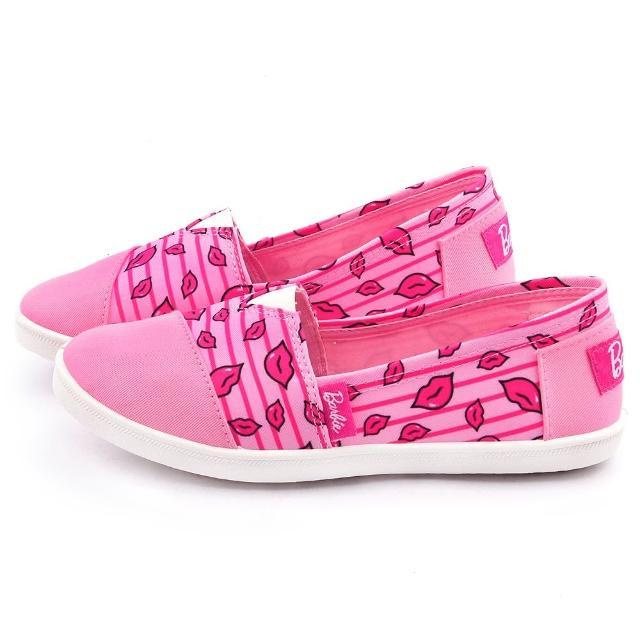 【童鞋城堡】Barbie芭比 女款 俏皮红脣帆布休闲鞋(BR7815-粉)