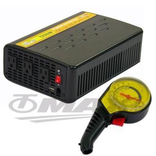 1200W+USB大功率電源轉換器+2入高級胎壓表(12H)
