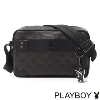 【PLAYBOY】Checkerboard Rabbit 紳士棋盤兔系列 雙主拉橫式斜背包(經典黑)