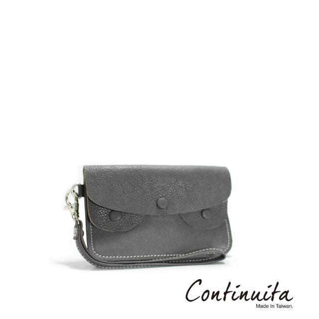 【Continuita 康緹尼】頭層牛皮手拎零錢包(灰色)