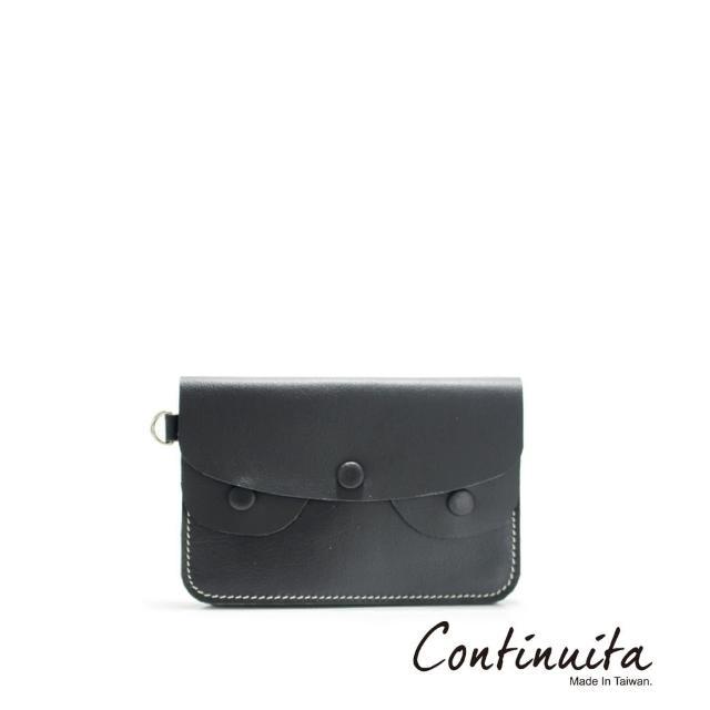 【Continuita 康緹尼】頭層牛皮手拎零錢包(黑色)