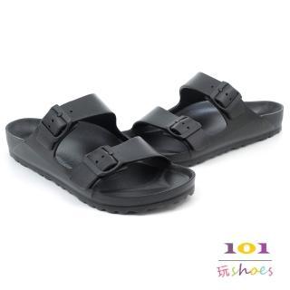 【101玩Shoes】輕量防水休閒大尺碼拖鞋03OP8802(黑色款)