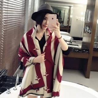 【米蘭精品】羊毛圍巾長披肩(簡約長款飛機印花防寒保暖女圍脖5色73hy20)