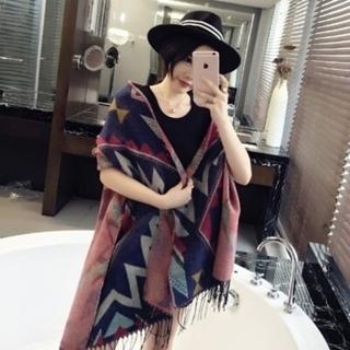 【米蘭精品】羊毛圍巾長披肩(幾何拚搭流蘇造型防寒保暖女圍脖2色73hy9)