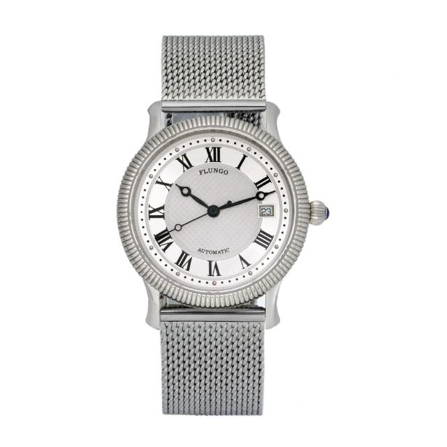 【FLUNGO佛朗明哥】米蘭羅馬假期機械腕錶-銀(機械錶、不鏽鋼錶、米蘭帶)
