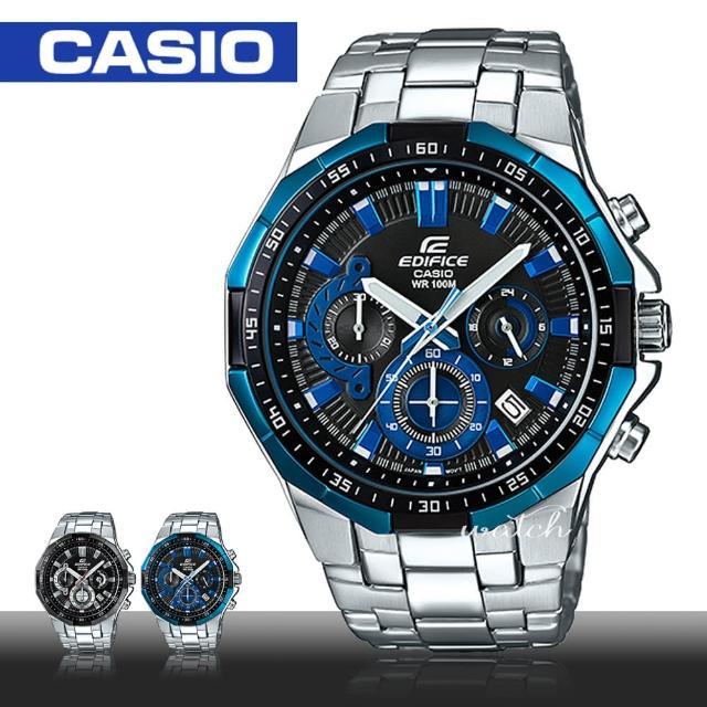 【CASIO 卡西歐 EDIFICE 系列】送禮首選 商務時尚 不鏽鋼錶帶 一觸式3倍扣 男錶(EFR-554D)