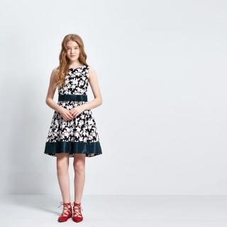 【ICHE 衣哲】立體花雕印花拼色洋裝