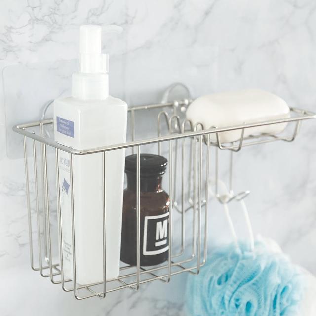 【樂活主義】第二代霧面無痕貼-304不鏽鋼小物百用收納架/沐浴乳肥皂架