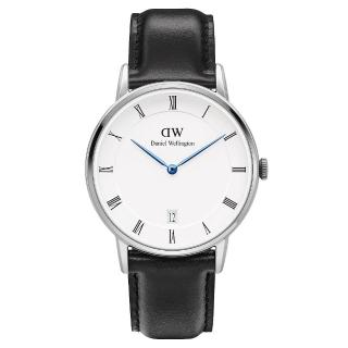 ~DW Daniel Wellington~Dapper 黑色皮革腕錶~銀框 34mm 1