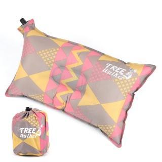 【TreeWalker】舒適自動充氣枕頭(粉紅菱紋)