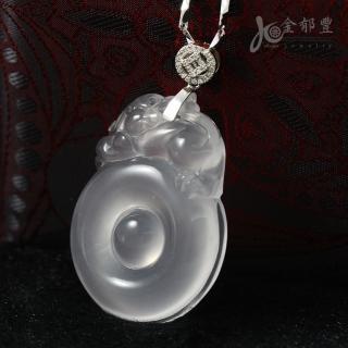 【金郁豐】圓滿招財貔貅玻璃質水沫玉項鍊