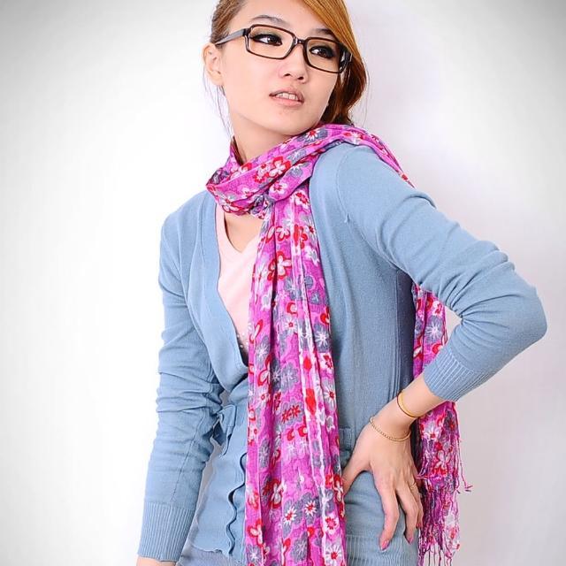 【Lady c.c.】巧心花染布綣閨秀流蘇圍巾(桃)